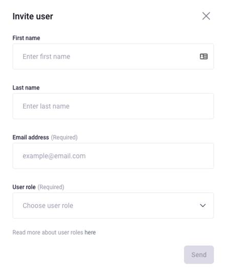 invite user form